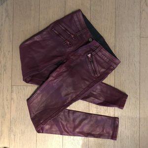 LF skinny purple waxed jeans